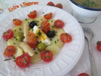 Ensalada de Patatas y Salmón marinado con aliño de anchoas