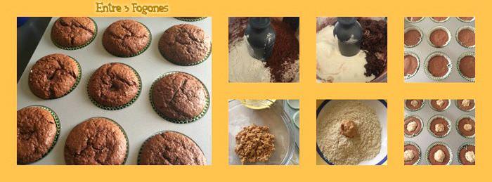 Pasos Muffins de Chocolate Rellenos de Turrón de Jijona