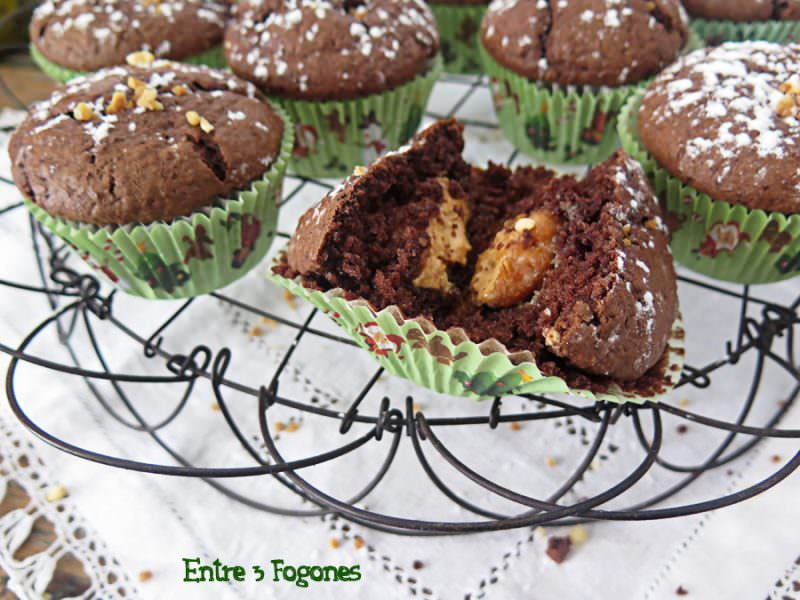 Receta Muffins de Chocolate Rellenos de Turrón de Jijona