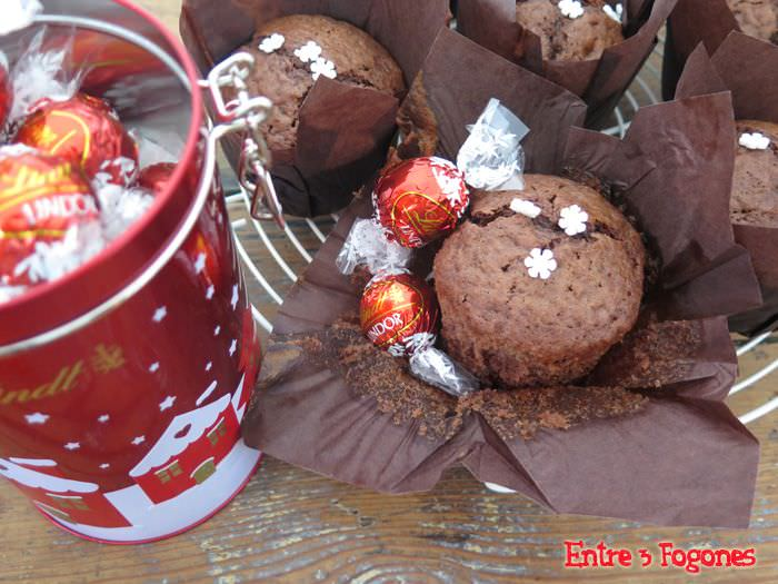 Muffins de Chocolate Rellenos de Chocolate