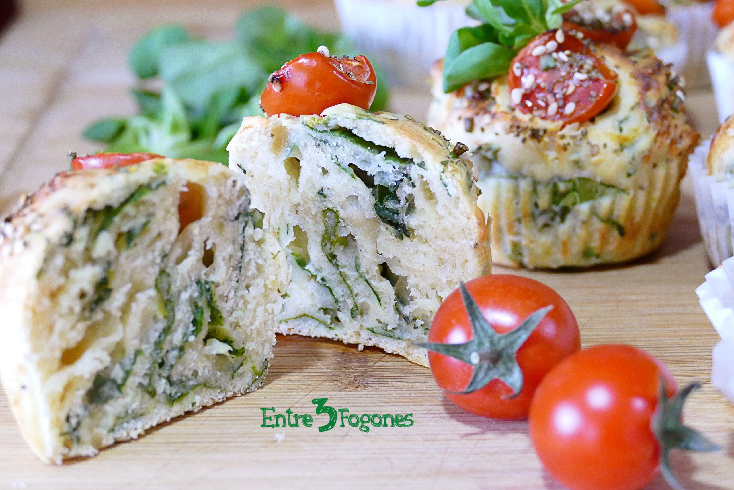 Muffins Salados de Espinacas y Tomate Cherry