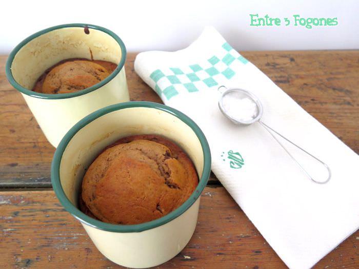 Receta Mugcake de Plátano y Chocolate para Dos