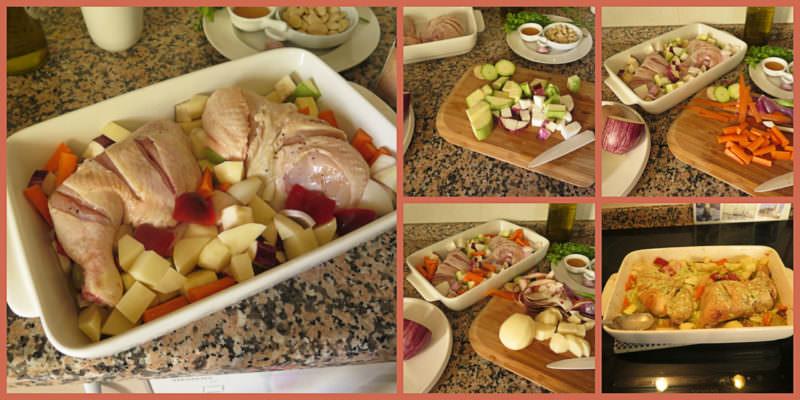 Pasos Receta Asado de Pollo al Horno con Verduras y Picada de Almendras