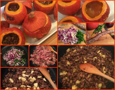 Pasos Calabaza Rellena de Carne de Pato y Manzana