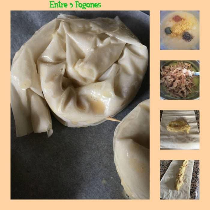 Pasos Caracolas Masa Filo Rellenas de Puré de Patata y Ventresca de Atún