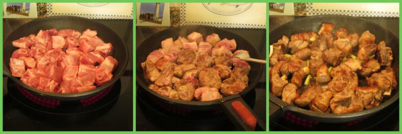 Pasos Carne con Ajos