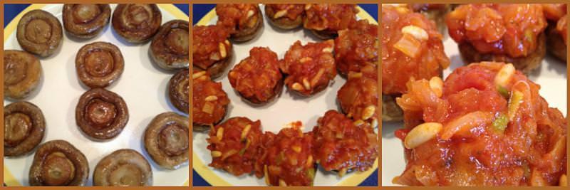Pasos Champiñones Rellenos de Salmón Marinado, Tomate y Piñones