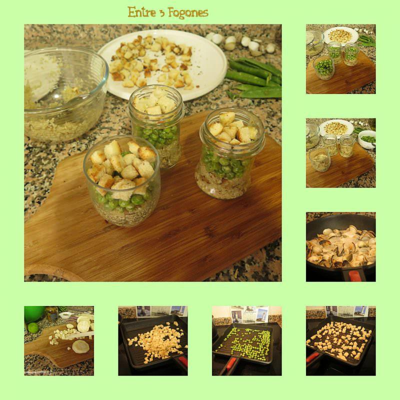 Pasos Ensalada de Quinoa con Guisantes y Berberechos Marinados