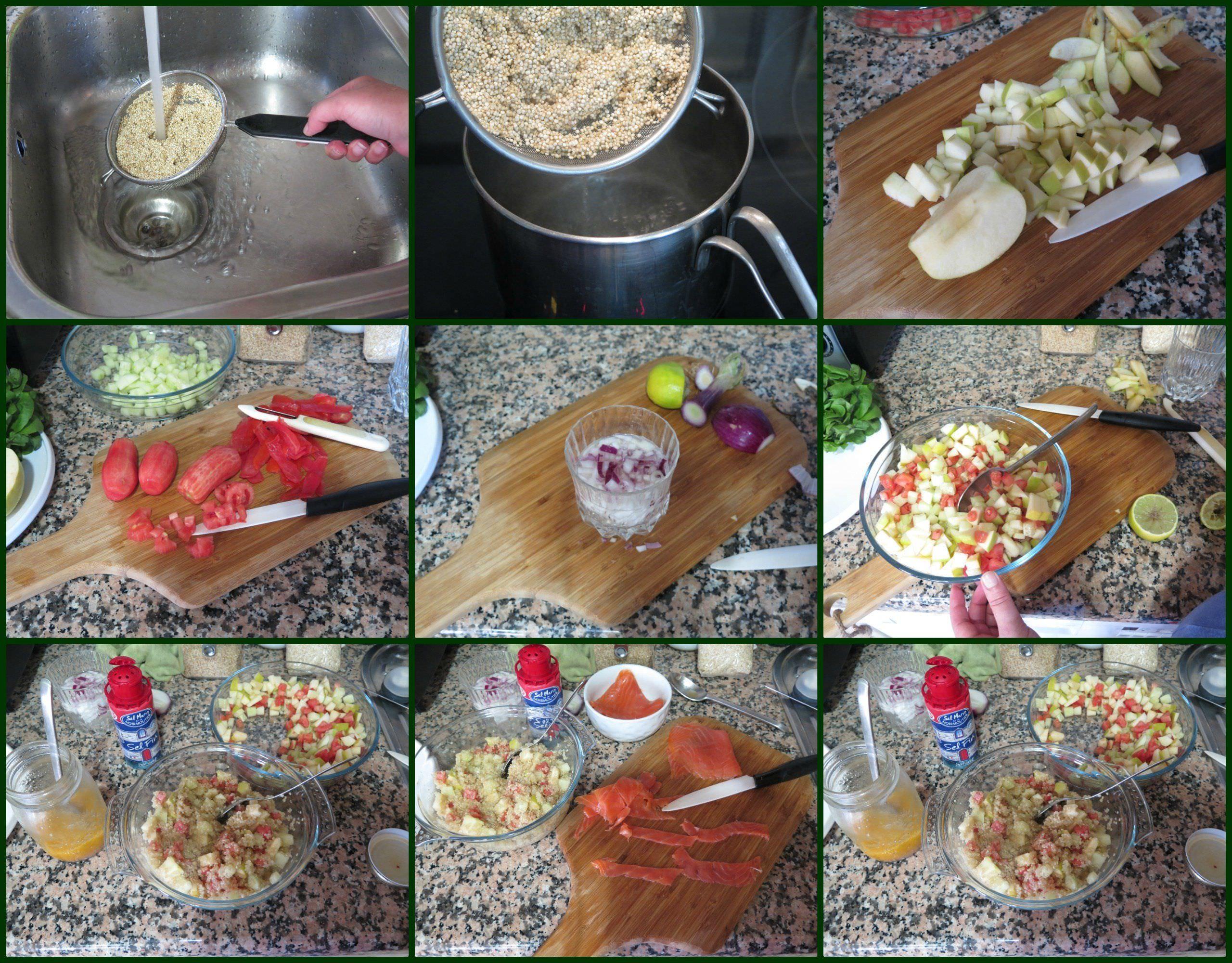 Pasos Ensalada de Quinoa con Manzana y Trucha Ahumada