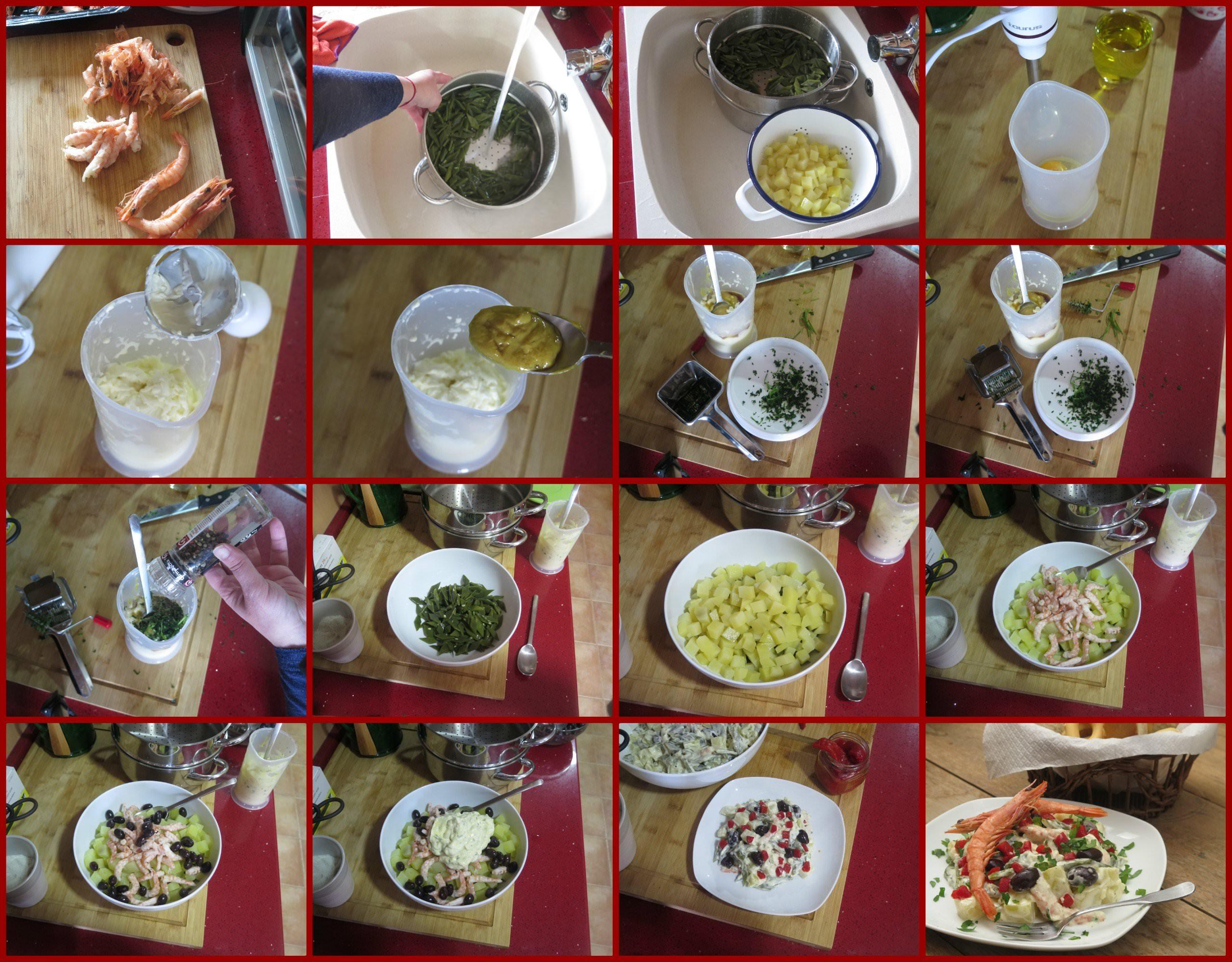 Pasos Ensaladilla de Gambas con Judías Verdes y Patata