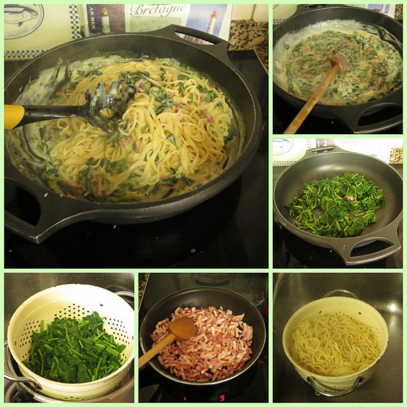 Pasos Espaguetis con Espinacas, Bechamel Casera y Bacon