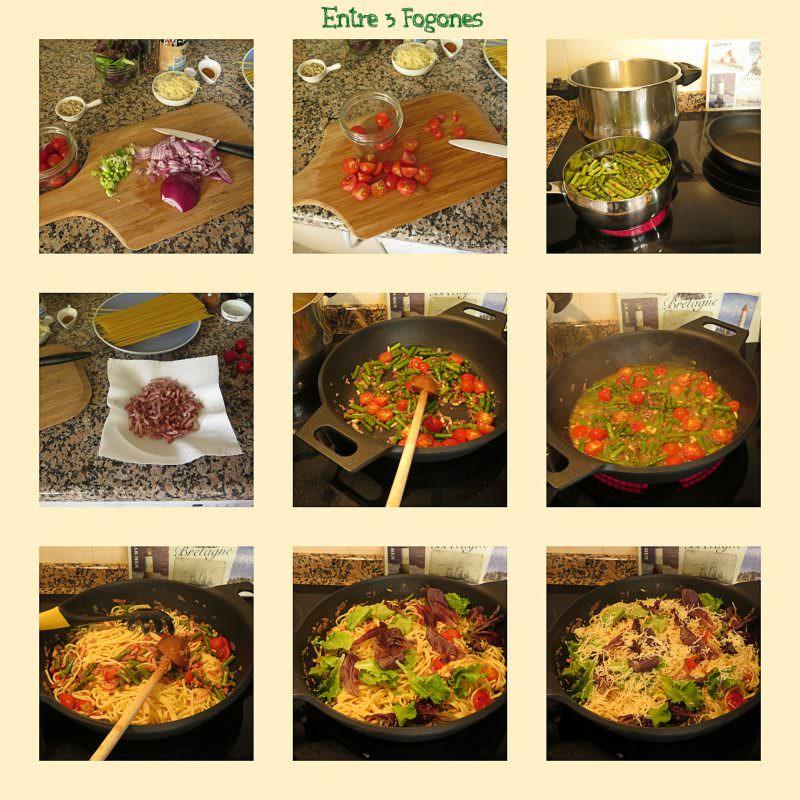 Pasos Espaguetis con Verduras y Bacon