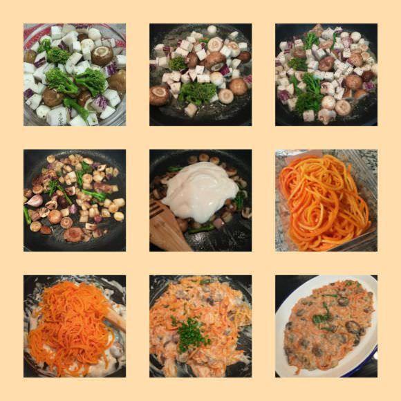 Pasos Espaguetis de Calabaza con Bechamel