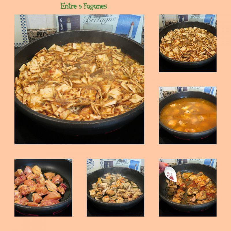 Pasos Gazpachos Manchegos con Pollo y Setas