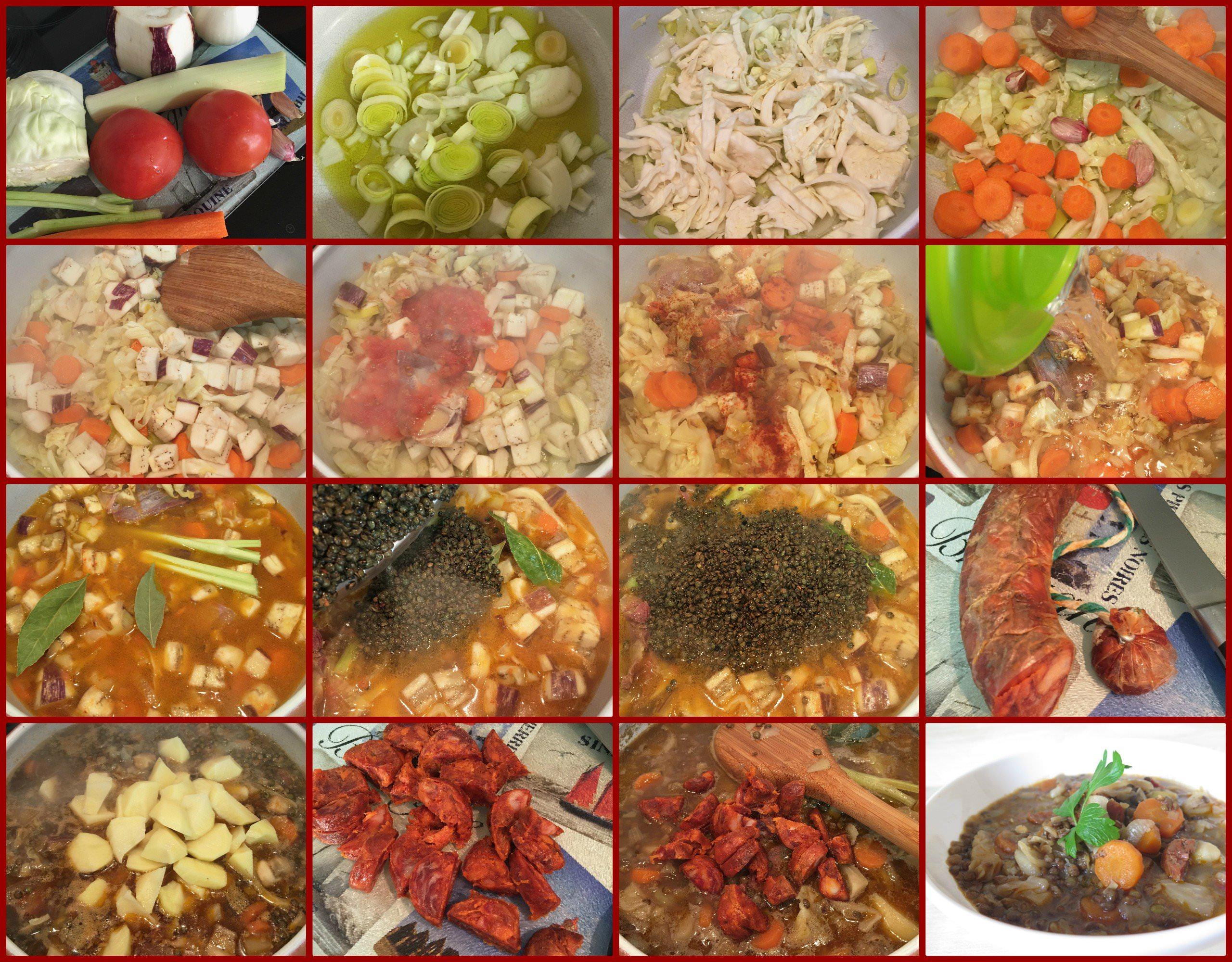 Pasos Guiso de Lentejas Estofadas con Verdura y Chorizo Ibérico