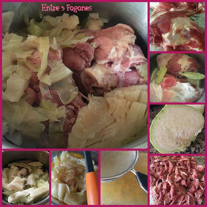 Pie de patata y codillos de cerdo con guarnición de col al pimentón de la Vera