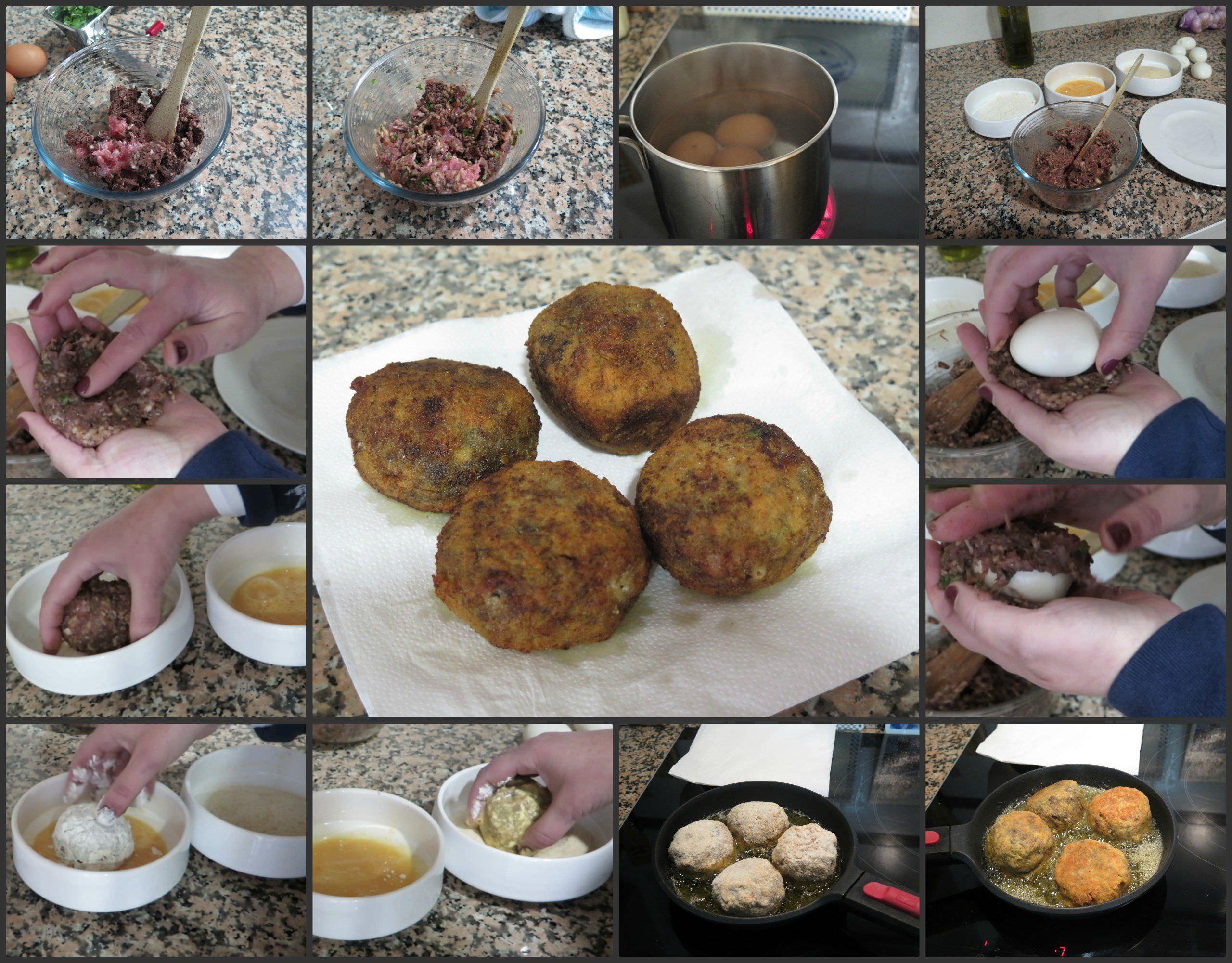 Pasos Huevos Escoceses con Morcilla y Manzana