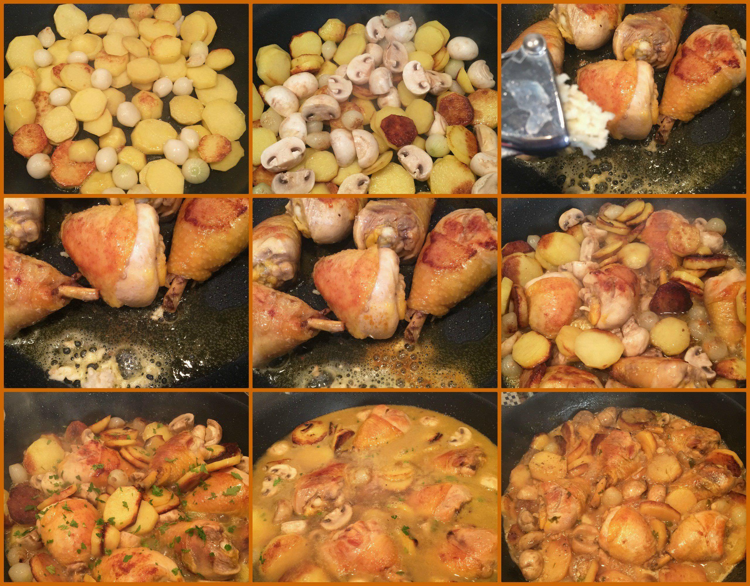 Pasos Jamoncitos de Pollo en Salsa con Champiñones