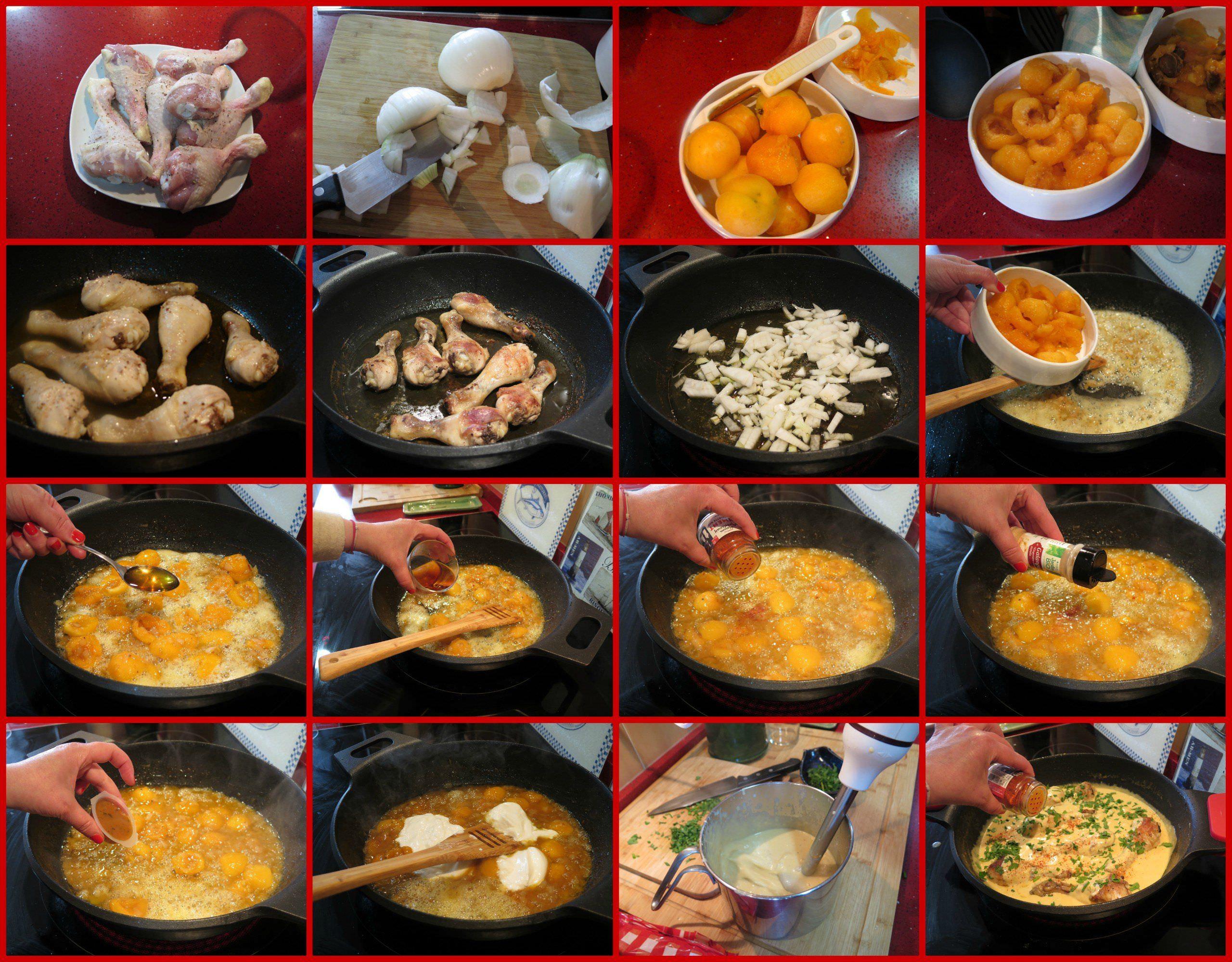 Pasos Jamoncitos de Pollo en Salsa de Albaricoques