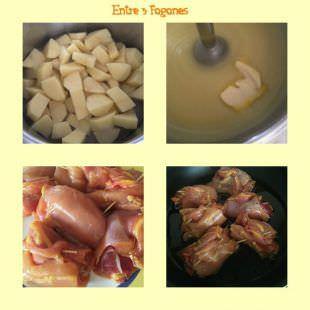 Pasos Jamoncitos de Pollo Rellenos de Jamón Serrano sobre Puré de Patata