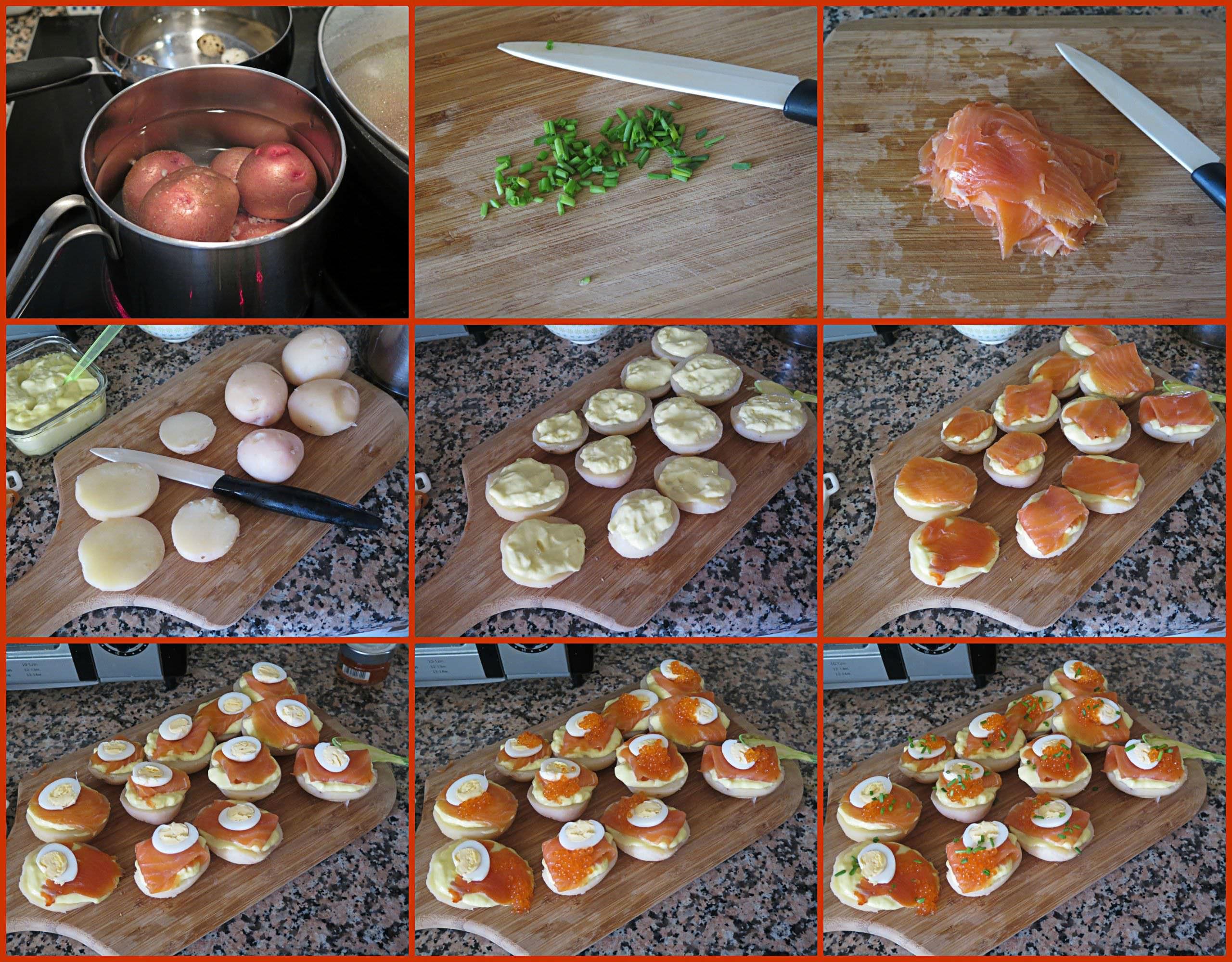 Pasos Montaditos de Patata con Trucha Ahumada
