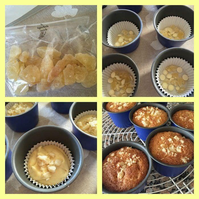 Pasos Muffins de chocolate blanco con pera deshidratada y nuez de macadamia