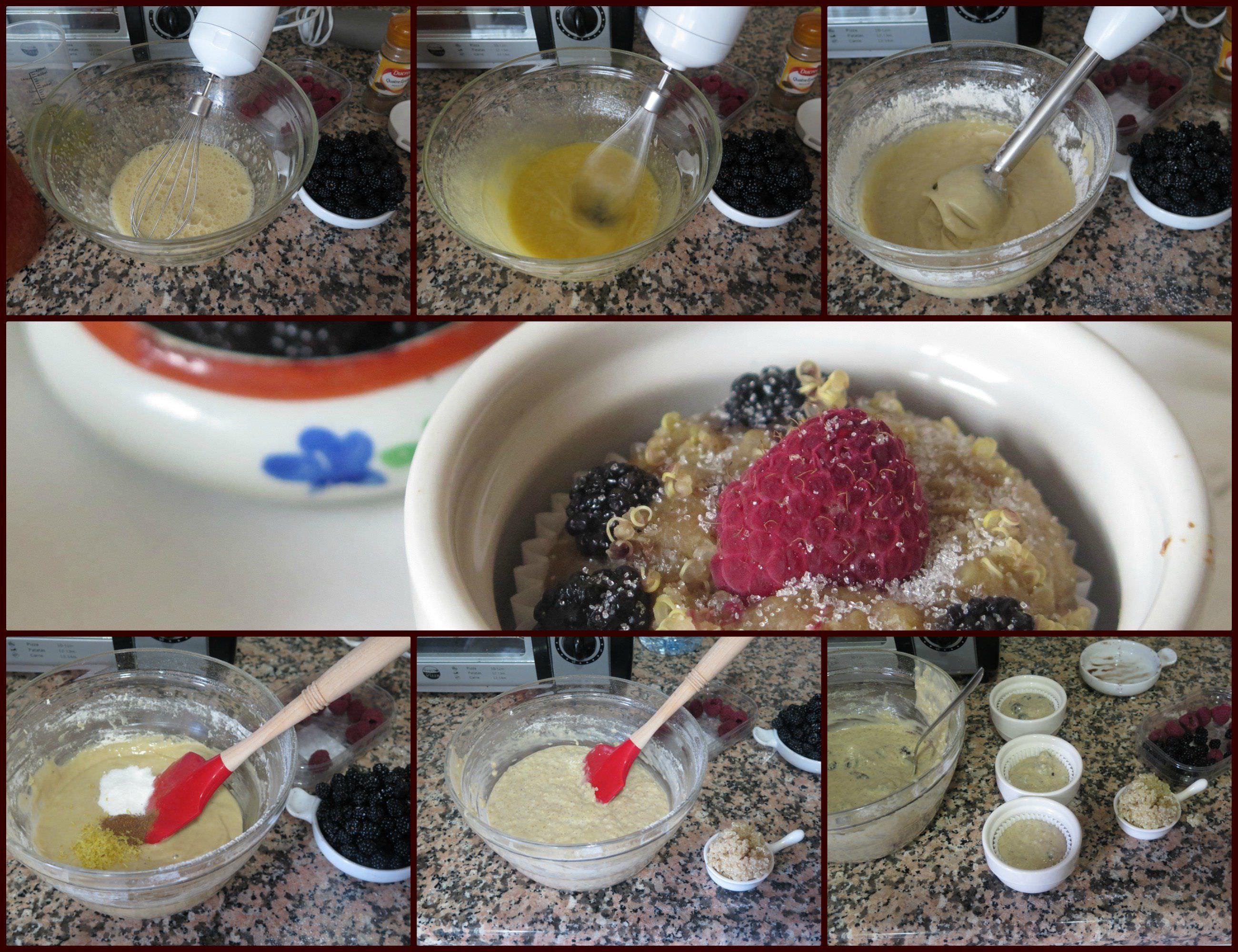 Pasos Muffins Veganos de Plátano con Quinoa, Moras y Frambuesas
