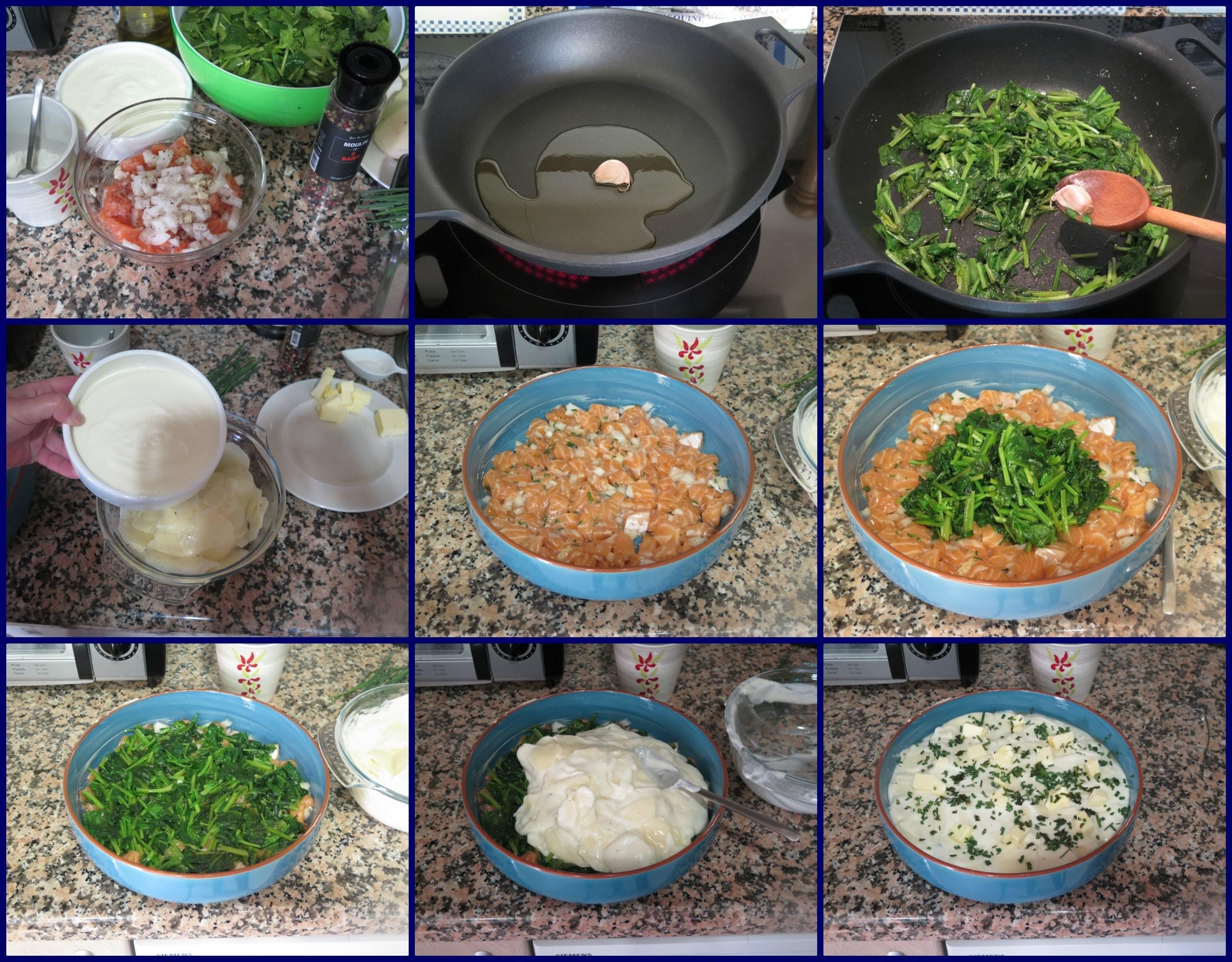 PasosPastel de Patatas con Espinacas y Salmón