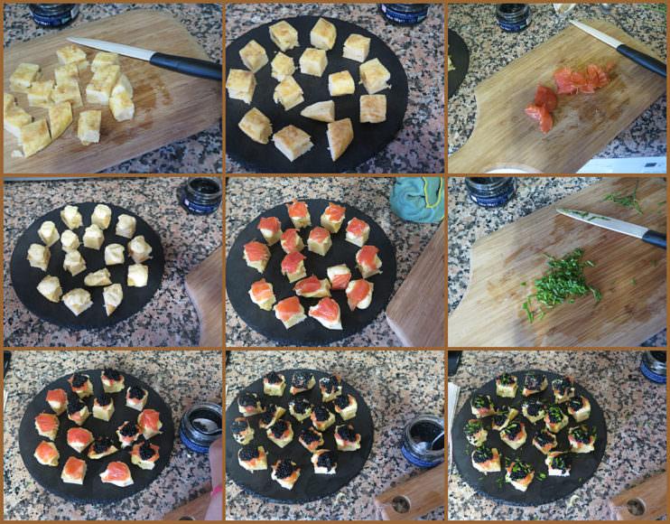 Pasos Pincho de Tortilla de Patatas con Trucha Ahumada