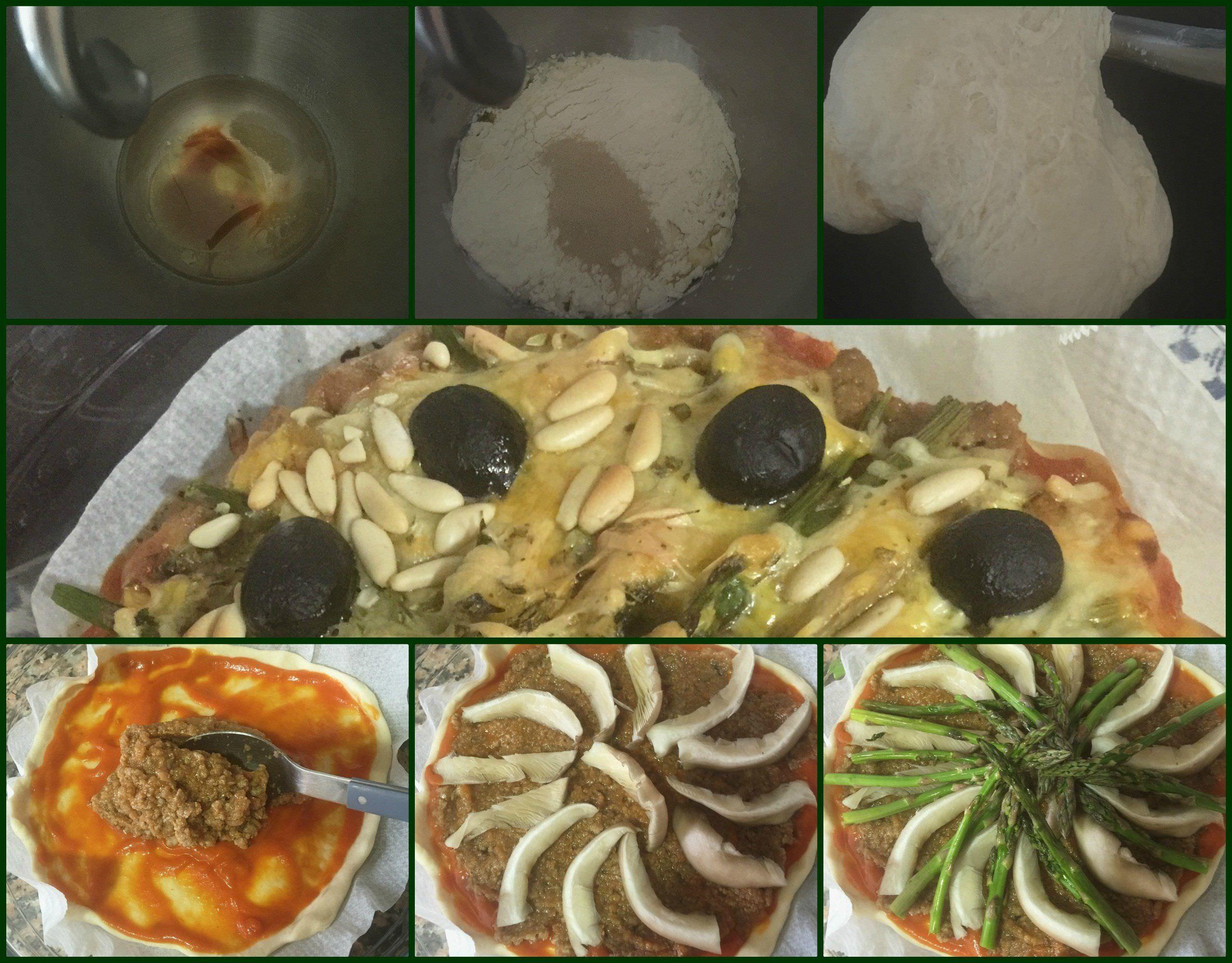 Pasos Pizza Boloñesa con Setas y Espárragos Verdes
