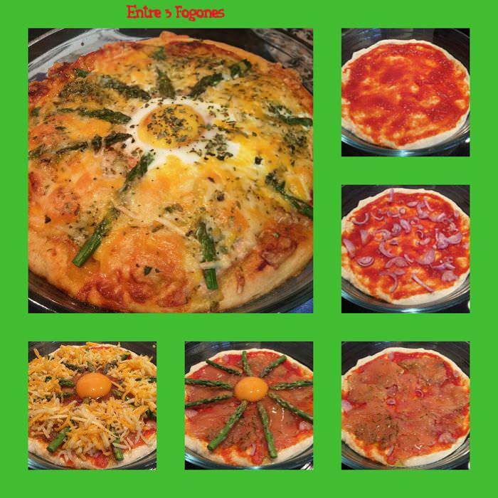 Pasos Pizza de Salmón con Espárragos y Huevo