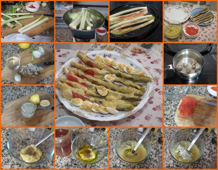 Pasos Puerros a la Vinagreta con Trucha Ahumada y Huevos de Codorniz