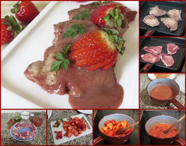 Pasos Lomo de Cerdo en Salsa de Fresas