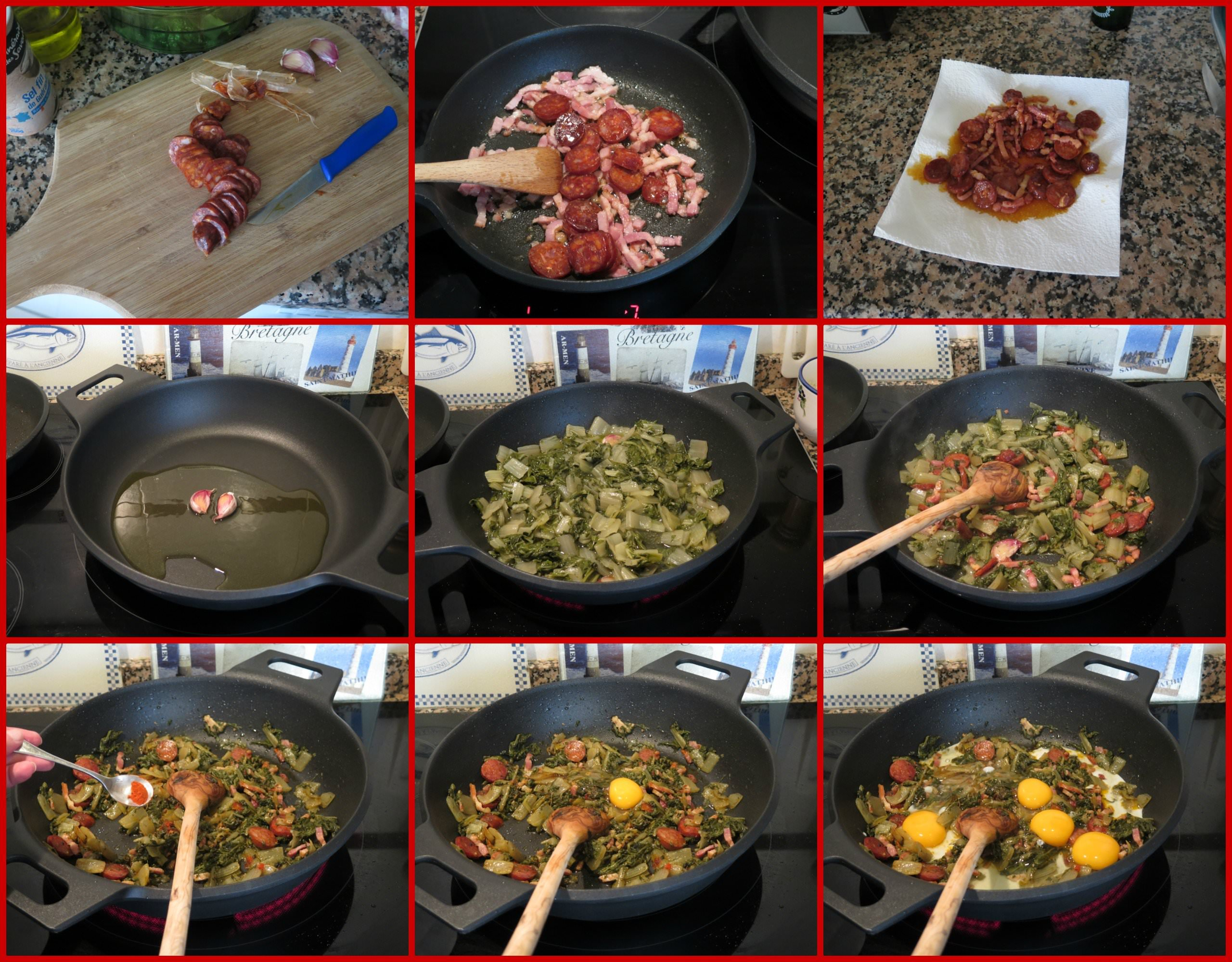 Pasos Revuelto de Acelgas con Chorizo y Bacon