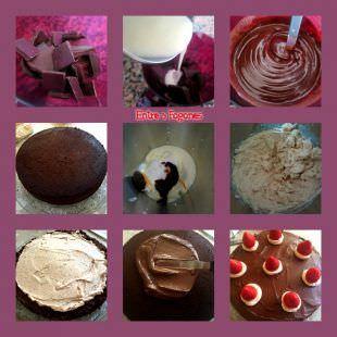 Pasos Tarta de Cumpleaños de Chocolate y Fresas