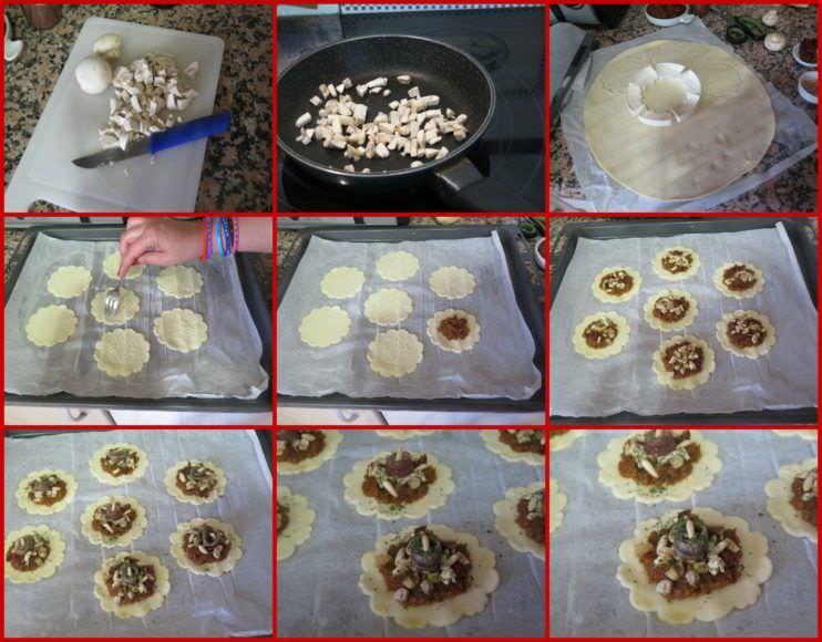 Pasos Tartaletas de Hojaldre Rellenos de Champiñones y Pesto Rojo