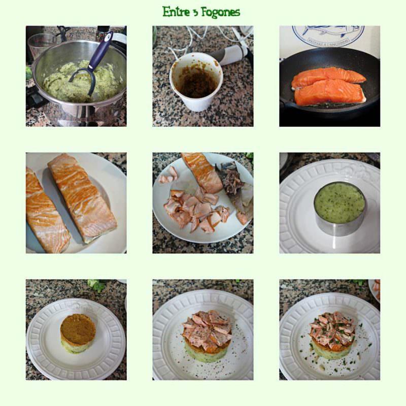 Pasos Timbal de Patata y Brócoli con Salmón y Pesto de Tomate