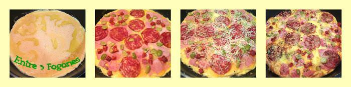 Pasos Pizza de Tortilla Francesa con Embutido y Queso al Orégano