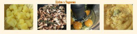 Pasos Tortilla de Puré de Patatas con Champiñones