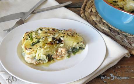 Pastel de Patatas con Espinacas y Salmón