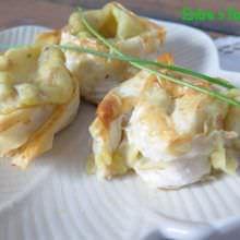 Caracolas Masa Filo Rellenas de Puré de Patata y Ventresca de Atún