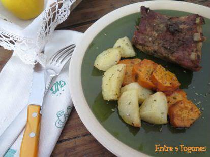 Costillar de Cerdo al Horno con Patatas y Batata
