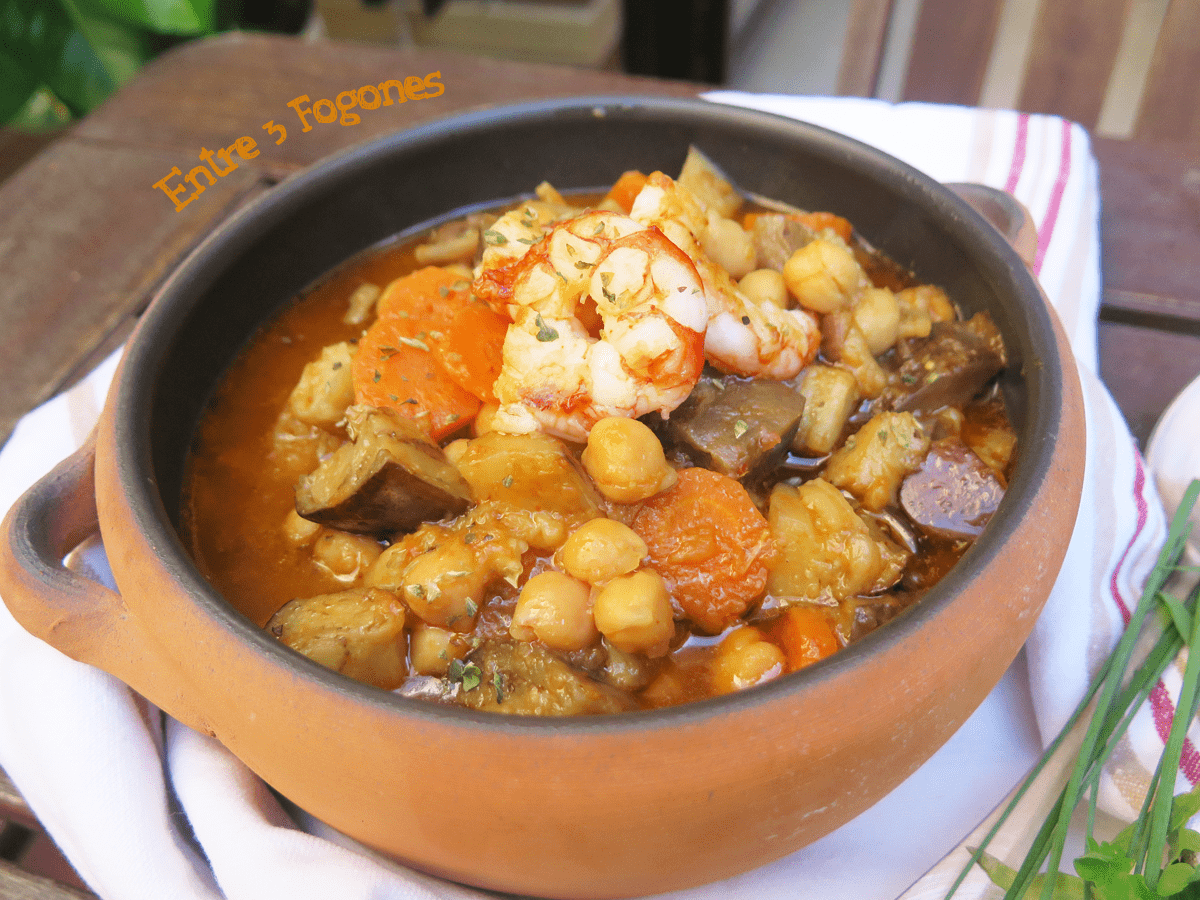 Photo of Potaje de Garbanzos con Berenjenas y Gambas
