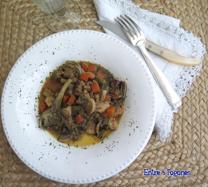 Receta Alcachofas con Panceta en Salsa