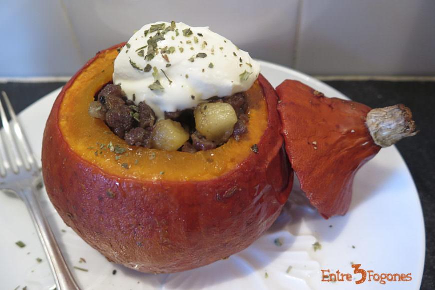 Calabaza Rellena de Carne y Manzana