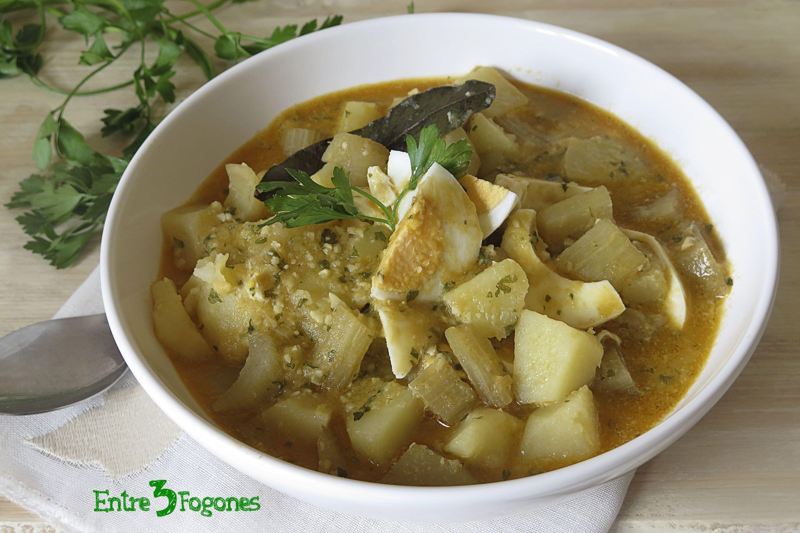 Receta Caldo de Patatas con Cardo y Huevo Cocido