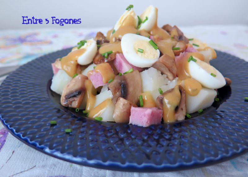 Receta Ensalada de Patatas con Jamón Dulce y Kerchup de Mango