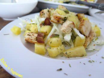 Receta Ensalada de Pollo y Piña con Aliño a la Miel