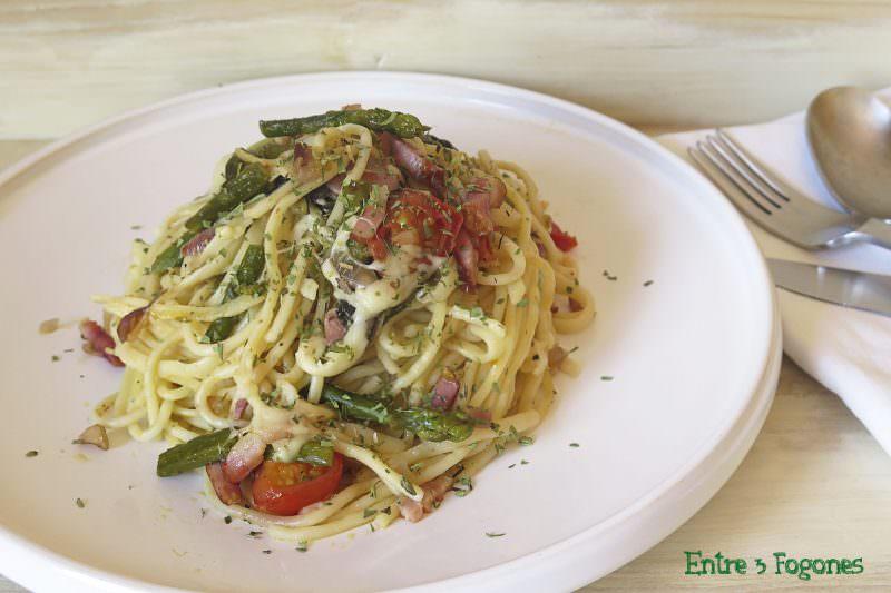 Receta Espaguetis con Verduras y Bacon