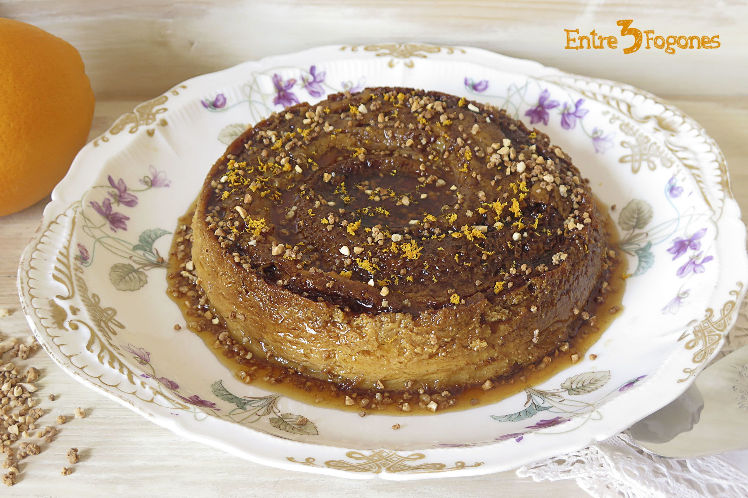 Receta Flan de Leche Condensada con Naranja y Crocanti de Almendras